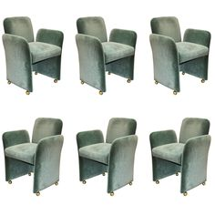 Set of Six Upholstered Green Pace Chairs | From a unique collection of antique and modern chairs at https://www.1stdibs.com/furniture/seating/chairs/