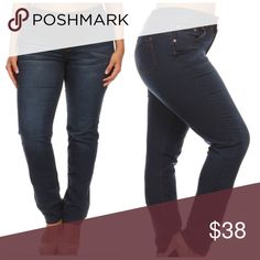 """💖PLUS💖Skinny Jeans!!! Plus size skinny long jeans. Muffin top cover high waist. 5 pocket design. Simple back pocket. 2 vintage red bronze color buttons zipper fly closure. Butt lift with sexy tight fit. Super stretchy dark blue wash. 31"""" inseam.  76% Cotton, 22% Polyester, 2% Spandex. Jeans Skinny"""