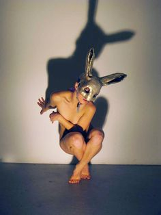 please don't mind the naked body...like the bunny mask. Bunny Mask Costume by SnarlApparel on Etsy, $240.00