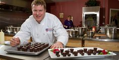 Tom Parfitt brings his back-room kitchen experience front and center through the Baking and Pastry Arts Center—and gives a small taste of the art of making chocolate.