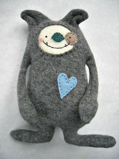 Dog Stuffed Animal Felted Sweater Wool Upcycled Recycled Grey