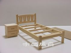 Solid wood assembled model diy doll small bed bedside cabinet 1/6 Barbie can children bjd Accessories Furniture Toy - Taobao