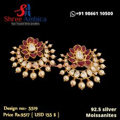 Classic, ornate ear piece hand crafted using 92.5 silver, moissanites and ruby stones. Be delighted. Pick this from Shree Ambica - Your Trusted Jewellers for the upcoming festive/wedding season. Readily available in stock For Price and Details Message on - +919866110500 #ShreeAmbica #TrustedJewellers #SilverJewellery #polkiearrings #emeraldjewelry #uncutdiamondjewellery #indianbride #indianwedding #jewelryaddict #handcraftedjewellery #finejewellery Emerald Jewelry, Silver Jewellery, Fine Jewelry, Ruby Stone, Uncut Diamond, Ear Studs, Wedding Season, Handcrafted Jewelry, Festive