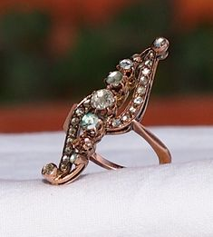 Antique 3/4 ctw Rose Cut Diamonds 9K Gold Ring