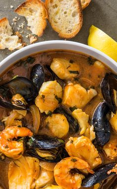 Monterey Bay Cioppino: This light, yet comforting seafood stew is inspired by coastal Northern California. You can use a variety of seafood, depending on what's available, but we found that sea bass, shrimp, scallops, and mussels work well together.