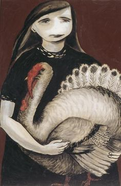 Joy Hester, Girl Holding Turkey, 1957