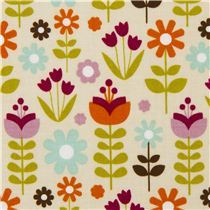 cream Riley Blake colourful flower fabric USA