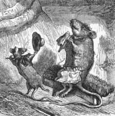 Let Me Entertain You    Anthropomorphic drawing of a mouse entertaining his mother. In this vintage black and white mice image, a young mouse dons a top hat and cane and dances for his mother. Add this copyright free image to your next creative project for a bit of charm and whimsy.    Artist: James Johonnot (1823-1888), the author, did not list an illustrator. However, at least 2 of this book's drawings are identical to drawings by Harrison Weir (1824-1906) from another book also…