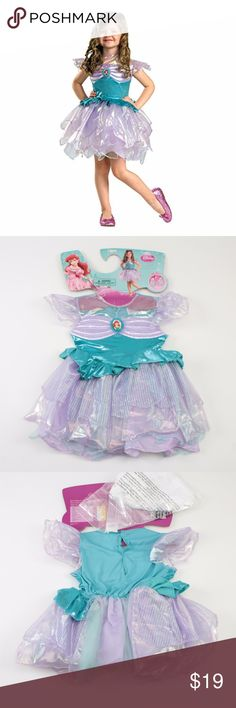 """Disney Toddlers' Ariel Dress Costume **LOWEST** Adorable girls' costume! Perfect for Halloween or just dressing up  This costume should fit the following measurements based on the chart provided on the packaging: Approx. 22-23"""" around the chest Approx. 20-21"""" around the waist Approx. 22-23"""" around the hips Approx. 39-42"""" in height  This is brand new and still attached to tags/hanger! #12WJDW // Disguise // Disney // Halloween // Costume // Princess Ariel // Toddlers' Disney Costumes"""
