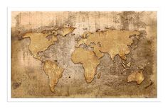 Gold Color Vintage World Map Canvas Print Wall