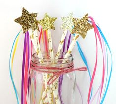Unicorn Star Wands, Unicorn Birthday Party Decor, Unicorn Party Supplies, Unicorn Party Favors, Rainbow Unicorn Wands, Unicorn Ribbon Wands by FarahLynnDesign on Etsy
