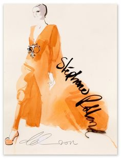 David Downton  Stephane Rolland for Vogue.COM  2011    Ink and water colour on paper and acetate overlay  45 x 32 cm    FIG Ref: 01914    Available to Buy Online    £1,750.00