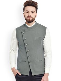 Buy Hypernation Grey Nehru Jacket -  - Apparel for Men from Hypernation at Rs. 1259