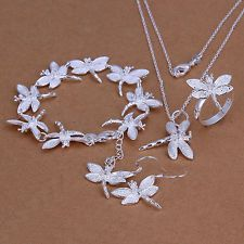 Unique Jewelry - Women 925 Silver Fashion Dragonfly Bracelet Ring Earrings Necklace Jewelry Sets