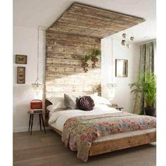 Récup palettes- 34  chambres à coucher- la tête de lit palette - palette-bois-déco-lit