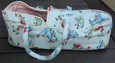 "Vintage 1950s 15"" BABY DOLL CARRIER Bassinet Bag VINYL Bunny &Bluebird RELIABLE? #Unbranded"