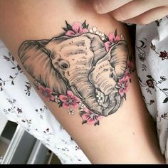 Animal designs have always been popular among men and women. Have a look at this great selection of different elephant tattoos and make a right choice.Elephant Tattoos Meaning and SymbolismAlthough elephants come from India where they are believed to Baby Tattoos, Flower Tattoos, Body Art Tattoos, Sleeve Tattoos, Tattoo Sleeves, Girl Tattoos, Elephant Tattoo Meaning, Elephant Tattoo Design, Elephant Design