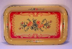 Vintage, Tray, Metal, Yellow, Red, Blue, Cottage, Shabby Chic, Chippy, French Country, 1970s, Home Decor, Retro