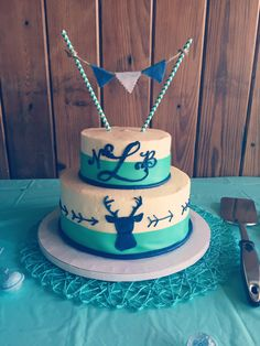 Turquoise & Navy Blue Deer and Arrow Baby shower Cake