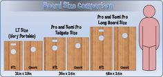 Bag Toss Cornhole Board Size Comparison