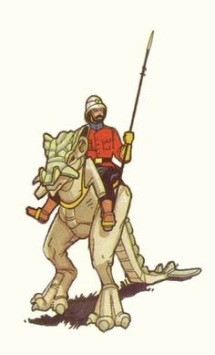 Space 1889, the great game continues… A British soldier astride a Martian gashant.