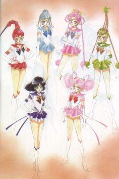Artwork done by Naoko Takeuchi for Sailormoon [sailor quartet, sailor saturn & sailor chibi moon]