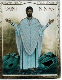 "St Ninian-icon by Aidan Hart - border says ""I tell you if these were silent, the very stones would cry out."" In English and Greek(?)"