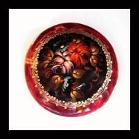 Russian Pin Hand Painted Flower Brooch 1960s Vintage Jewelry