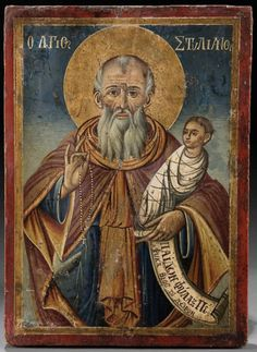 A Greek icon , x cm. A century hermit, Stylianos is the patron of children. His scroll reads Guardian of Children yet to be born.