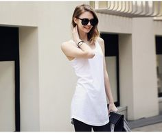 In the European and American wind modal long vest top white temperament joker