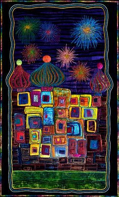 """Ode to Hundertwasser: Onion Domes"" by Nancy Eha, SAQA Minnesota"