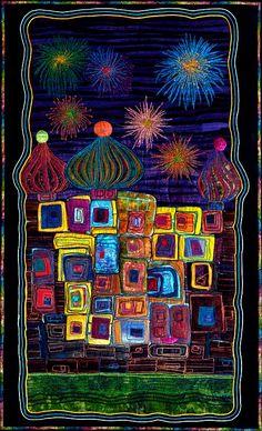 """Ode to Hundertwasser: Onion Domes"" by Nancy Eha, SAQA Minnesota"
