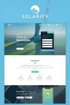 Solar Wind Green Renewable Energy Website Template - tecnology World Solar Energy Panels, Best Solar Panels, Solar Energy System, Solar Power, Wind Power, Power Bike, Nikola Tesla, Webdesign Inspiration, Architecture 3d