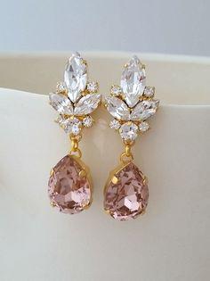 Blush Bridal Earrings Chandelier Wedding Vintage