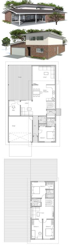 Narrow House Plan. Floor Plan from ConceptHome.com