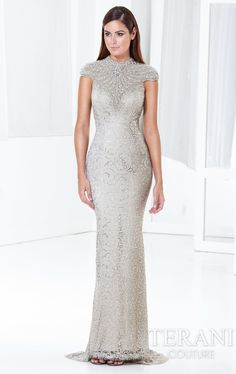 Beaded Metallic Lace Gown Terani E3797 by Terani Couture Evening