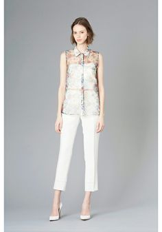 LE CIEL BLEU Floral see-through shirt and white tapered pants