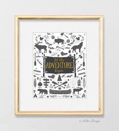 Let the adventure begin, Rustic wilderness quote print, nursery decor for boys – Nella Designs