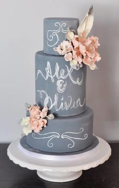 Chalkboard! I hate to pin wedding things. But this cake is lovely. For my birthday perhaps..