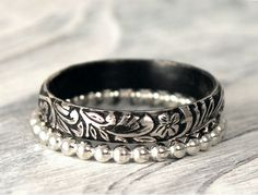 Romantic Antique Recycled Sterling Silver Stacking by palefishny, $58.00