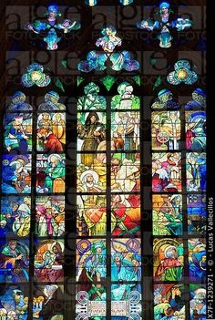 Vitus Cathedral, Stained glass In Prague Castle Hradcany quarter Prague Czech Republic
