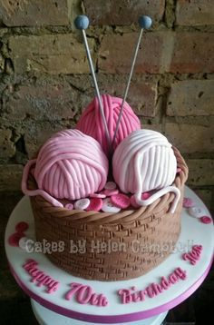 Knitting basket cake - Cake by Helen Campbell