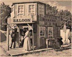 Old West Saloon and Bakery, date unknown. Appears ca. 1870s.