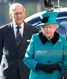 Queen Elizabeth II and Prince Philip, Duke of Edinburgh arrive to view The Blood Swept Lands and Seas of Red Poppies at The Tower of London on October 16, 2014 in London, England.  (Photo by Mark Cuthbert/UK Press via Getty Images)