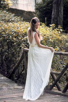 Ivory Bohemian Wedding Dress Beautiful Lace Wedding Long Gown Boho Gown Bridal Gypsy Wedding Dress - Handmade by SuzannaM Designs by SuzannaMDesigns on Etsy