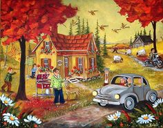 1,2,3,4,5,6,7 Québec! Storybook Cottage, Cottage Art, Folk, Arte Country, Perfect Peace, Z Arts, Down On The Farm, Canadian Artists, House Painting