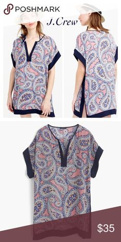 NWOT! J. CREW Colorblock Paisley Tunic This tunic/cover up is not just for the beach. Pair it with leggings and boots this fall, or with skinny jeans and flats for a look that is bound to get you compliments. J. Crew Tops Tunics