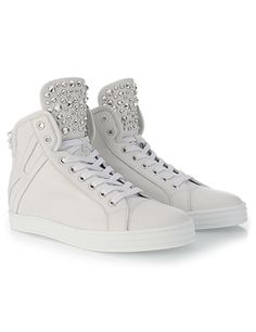 #HOGANREBEL Women's Spring - Summer 2013 #collection: leather High-Top #sneakers R182 with stud detailing.