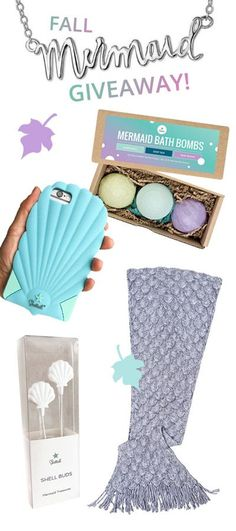 Enter to win this EPIC Mermaid Pack from Seatail!! Win a ShellPhone Case, Mermaid Bath Bombs, Mermaid Blanket, Shell Earbuds, Mermaid Necklace of choice, and Mermaid Art! Winner Announced Nov 7, 2017 - Enter Now!