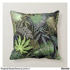 Tropical Green Ferns Throw Pillow